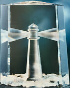 New In Box Glass Steuben Lighthouse Beacon Of Light Sea Angler Ornament Crystal