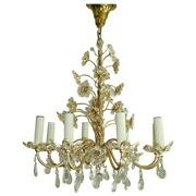 Vintage Original Brass Flowers And Crystal Chandelier By Palwa, 1970s Germany