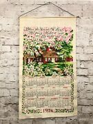 Vintage 1974 Fabric Hang Tea Towel Wall Calendar Bless This House Oh Lord Pray