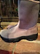 Lands End Warm Chukka Mukluks Zip Up Leather Suede Womens Lined Boots Shoes Sz 8