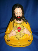 Vintage Large 12 Sacred Heart Of Jesus Chalkware Bust W/ Candle Holders
