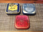3 Antique Branded Typewriter Ribbon Tins Vintage Advertising Collectible Decor A