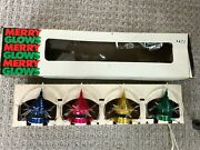 Vintage Merry Glows Christmas Light Cover Ornament Set Space Age Spinning Rare