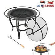26 Metal Burning Fire Pit Bowl Outdoor Backyard Patio Garden And Cover Bbq Grill