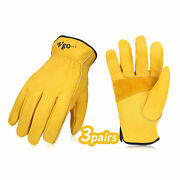 Vgo 3/12 Pairs Unlined Cow Grain Leather Work Gloves, Driver Gloves Ca9590