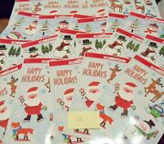 23 Lot Of Window Clings Merry Christmas Santa Snowman Holiday Decorations