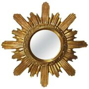Vintage 1960s Starburst Gold Gilded Wood And Composition Mirror Italy
