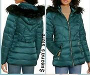 Nwt Bebe Outerwear Puffer Jacket Teal/black Size Mp Upscale Very Detailed