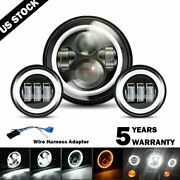 7 Inch Led Halo Headlight Drl And 4.5 Fog Passing Lights For Harley Motorcycle