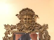 Antique Highly Ornate Gold/brass Mirror Faces Neptune And Winged Crown Dolphins