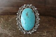 Navajo Indian Jewelry Sterling Silver Turquoise Ring Size 7 - Delgarito