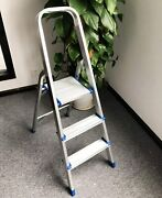 Aluminum 3 Step Stool Folding Ladder Non Slip Safety Tread Industrial Home Use