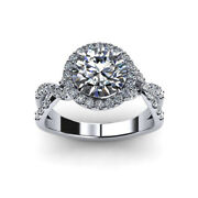 0.96 Ct Natural Round Diamond Engagement Ring Solid 18k White Gold Size 5 7 8 9