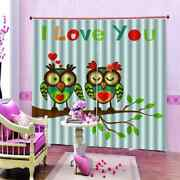 Owls Love Each Other Printing 3d Blockout Curtains Fabric Window Home Decor