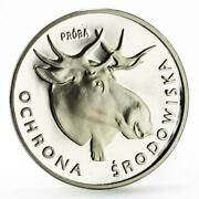 Poland 100 Zlotych Animal Series Moose Fauna Proba Proof Silver Coin 1978