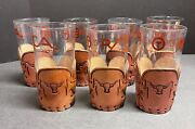 Lot 7 Libby Bamco Western Ranch Retro Tumbler Juice Glasses Tooled Leather