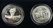 1999 Yellowstone National Park Commem Proof And Unc Silver Dollar Coins No Sleeve