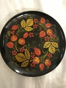Russian Folk Art Black Lacquer Hand Painted Wood Plate By Sitka