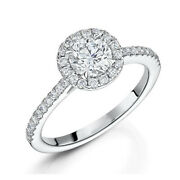 Solid 18k White Gold Solitaire Ring Real 1.12 Ct Diamond Wedding Size Band 5 7 8