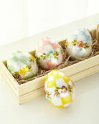 Mackenzie Childs Pastel Floral Eggs Medium – Shell And Paper Mache Set Of 4 New
