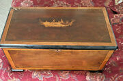 19th C. Swiss Cylinder Music Box With Swan Inlays Of Wood And With Bells Look