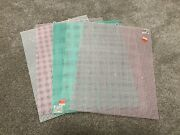 Lot Of 5 Plastic Canvas Stitching Grids White Pink Green 10.5 X 13.5
