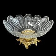 Large Baccarat Style Etched Crystal And Gilt Bronze Centerpiece.