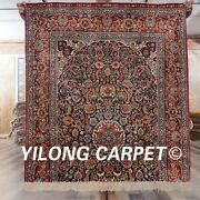 Yilong 3and039x3.3and039 Half Done 100 Handmade Silk Carpet Floral Eco Friendly Rug Y443a
