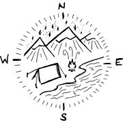 'compass Camping' Rubber Stamp Rs019923