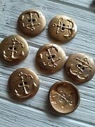 Vintage Military Navy Uniform Coat Brass Embossed Buttons Anchor Rope Set Of 7