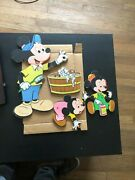 Walt Disney Productions Mickey Mouse Bath Time Pressed Cardboard Wall Hanging