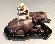 Vintage Antique Chinese Water Buffalo Carved Shoushan Soapstone Figurine Bust