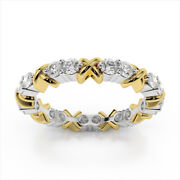1.80 Ct Real Diamond Engagement Ring Fine 14k Double Ton Gold Eternity Band 6 7