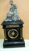 Vintage French Black Marble Mantel Clock, H.p And Co. Paris With A Greek Woman Fig