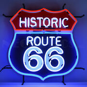 Historic Route 66 Neon Sign W/ Backing Hot Rod Racing Car Gameroon Light Mancave