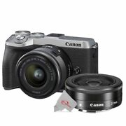 Canon Eos M6 Mark Ii Mirrorless Camera Silver With 15-45mm + Ef-m 22mm F2 Lens