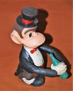 Vintage Wind-up Jocko The Drinking Monkey In Tuxedo Toy For Parts Or Repair Only
