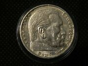 1935-f Germany 5 Reichmark Silver Hindenburg In Airtite Capsule Near Unc T115
