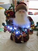Mint 15 Santa With Gifts And Fruit Lights Up From Seasons Of Cannon Falls