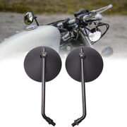 Black Round Motorcycle Rearview Side Mirrors Fit For Big Dog Chopper 2003-2007