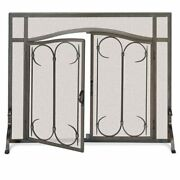 Pilgrim Iron Gate Fireplace Screen Arched Doors - Burnished Black - 39w X 31h