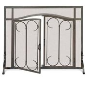 Pilgrim Iron Gate Fireplace Screen With Arched Doors Burnished Black 44w X 33h