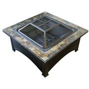 Fire Pit 36 Inch Slate Wood Burning Screen Included Square Farmhouse Steel Black