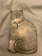 Free Shippingtwo Vintage Brass Cat Trivets With One Dragon And One Iron Trivet.
