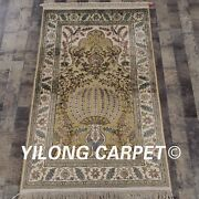 Yilong 3and039x5and039 Handknotted Golden Silk Area Rug Home Decor Antistatic Carpet L138a