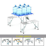 Folding Camping Picnic Table Aluminum Outdoor Bbq Party Camp Tables W/ Seatandcase