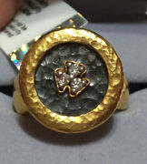 Gurhan - Pure Solid 24k Gold Hammered Imperial Diamond Ring Size=4.5 Ret=3900