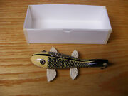 C Hines Heddon Style Fish Decoy Leather Fins In Ivory Silk Black Scales Color