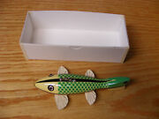C Hines Heddon Style Fish Decoy Leather Fins In Antique White Green Scales Color