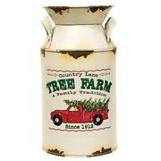 New Farmhouse Primitive Rustic Vintage Red Truck Christmas Tree Milk Can Bucket